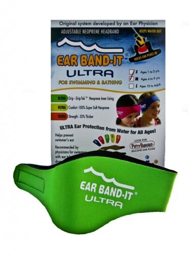 0153e96d477 Neoprénová čelenka Ear Band-It Ultra vč. špuntů zelená